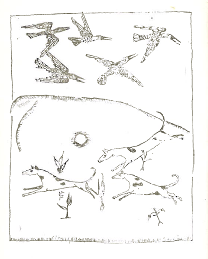 Another image from the 1st edition of al-Bayātī's  He Who Comes and Does Not Come  (1966), p. 31.  A hunt scene, a representation of the  ṭardiyyah  poem that precedes the image, featuring spotted dogs and birds in flight.