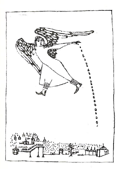 "From page 37 of al-Bayātī's  He Who Comes and Does Not Come  (1966). An angel drops something onto Nishapur, where, like the title of the preceding poem, the ""dead do not sleep."""