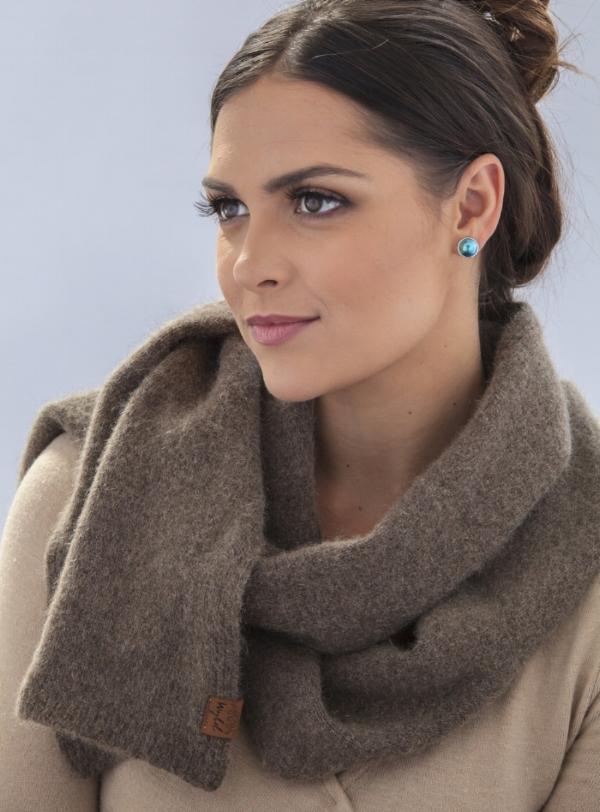 Wyld woollen scarf with possum fur and merino