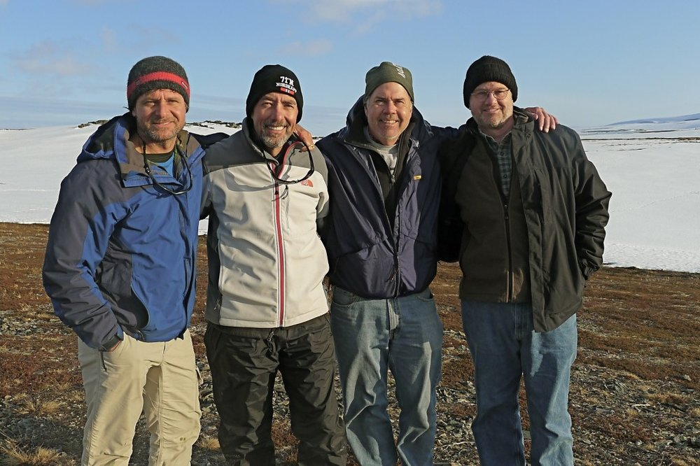"""Me, John McCaleb, Madison Smith and Larry Heller: Witnesses to the great work being done by Yura and his ministry to the Far North, """"Manhood Forge"""".  Many thanks to these and other members of the Kingdom Group who made this visit possible for me."""