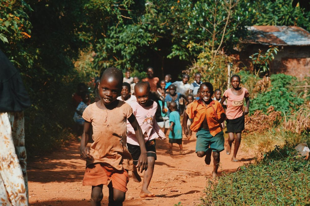 African children running and playing