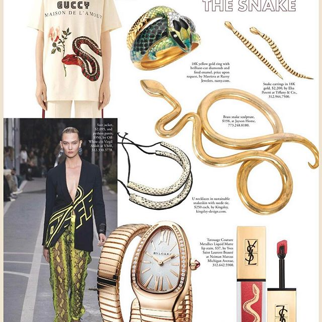 Thanks for the ❤️ @sophisticatedlivingchicago @ehofershaw for including our U necklaces in sustainable snakeskin. Everyone check out this GORGEOUS magazine's spring edition. XO #sophisticatedlivingmagazine