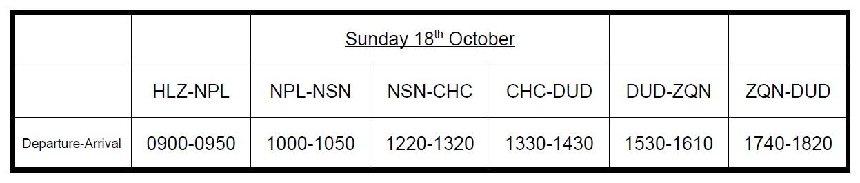 KRA Sunday18thFlightSchedule