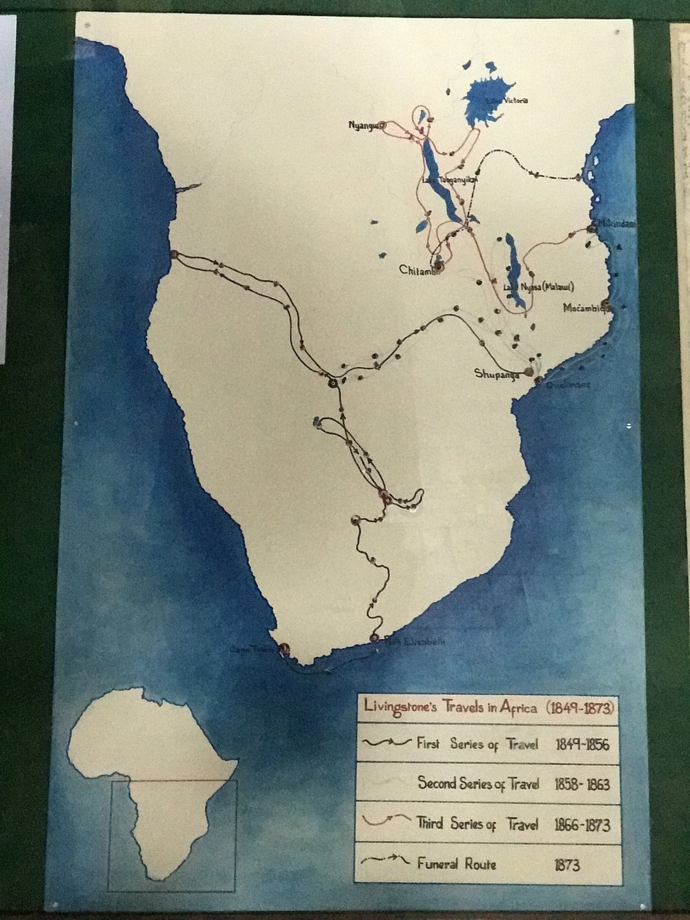 The various paths taken by Livingstone and his team through present day Malawi