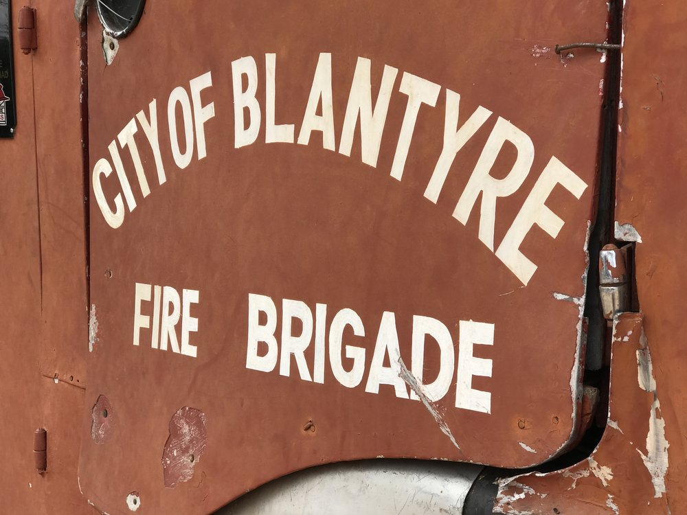 A close up of the door to one of the first dedicated fire engines for the City of Blantyre