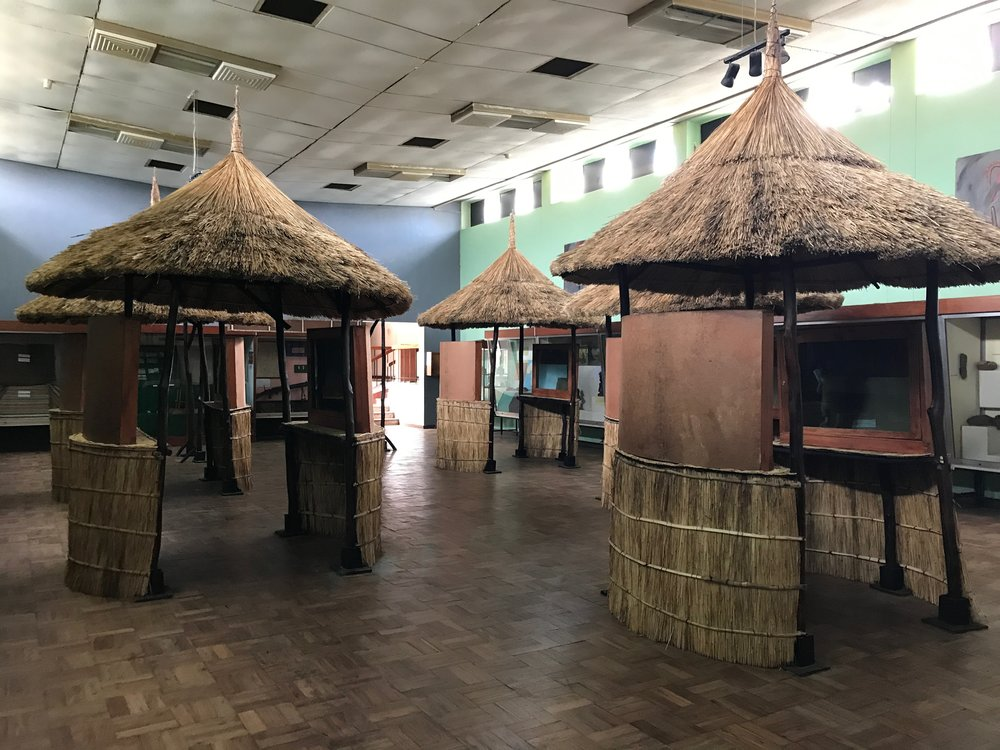 Here you can see the layout of the main room in the museum. The huts in the central area are used for temporary exhibits.