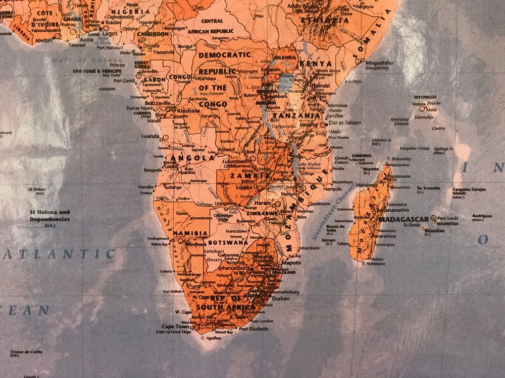 Let's get oriented here: Zambia is the dark orange country in the middle of the map. South of that is Zimbabwe, to the right of those is teeny Malawi, hard to read it on this map, and to the right of that, touching the Indian Ocean is Mozambique. For size reference, these four countries combined are roughly the size of the Democratic Republic of Congo (DRC), which is roughly the size of the whole of Western Europe.