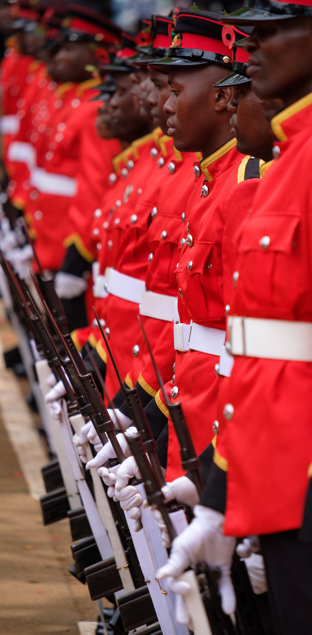 Dressed right dressed, the soldiers looked sharp in their dress uniforms.