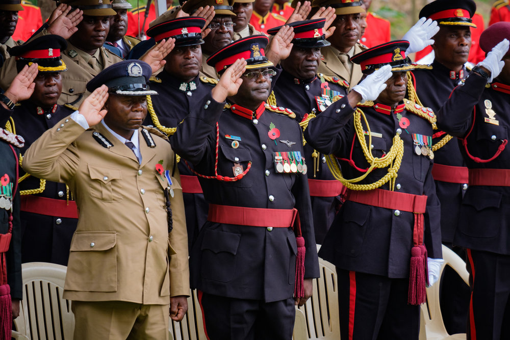 High ranking officers saluting during the Malawi National Anthem.