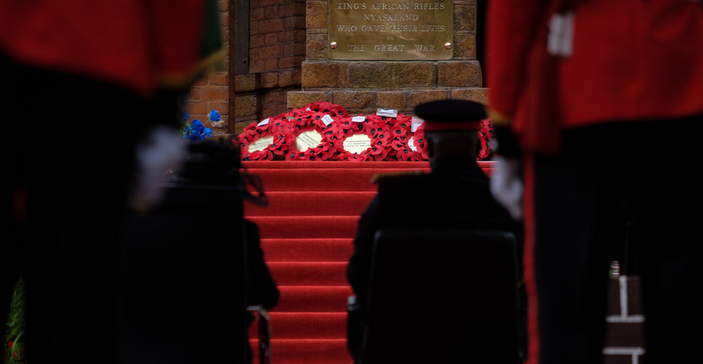 The Wreaths laid across the bottom of the memorial.