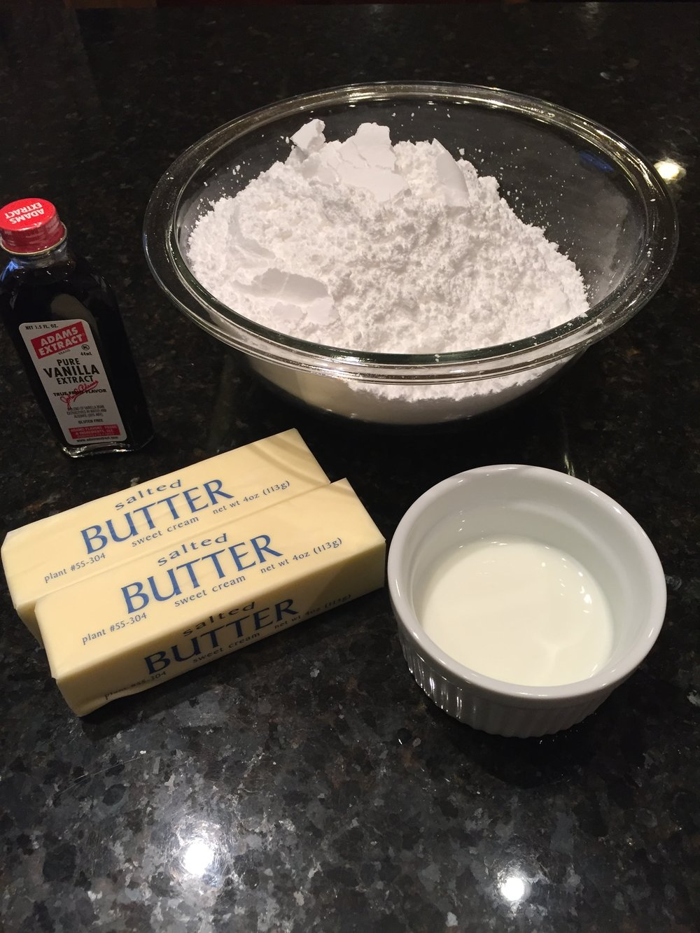 Confectioners sugar, vanilla extract, butter & milk