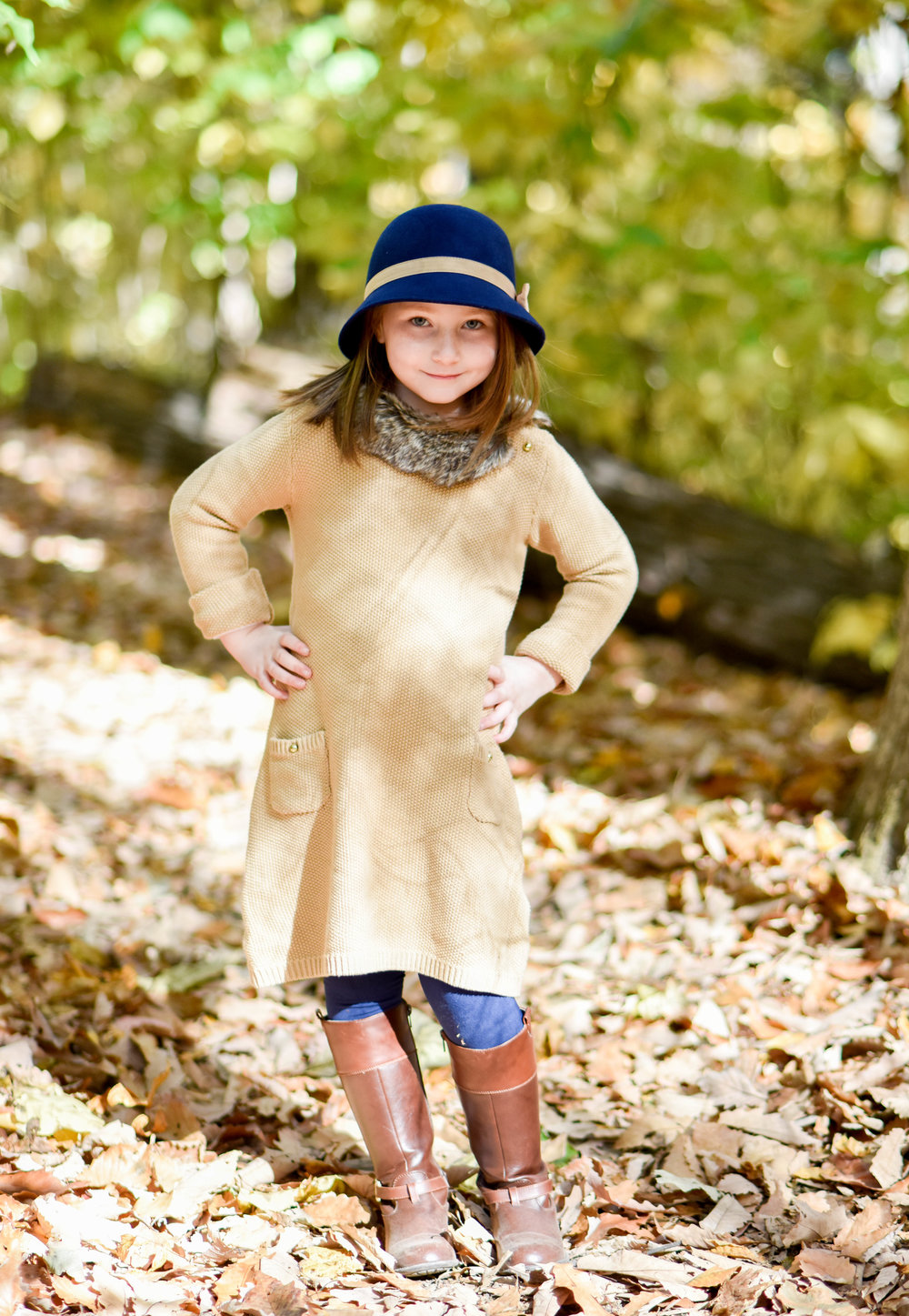 5 Year Old Girl Twin at Rock Creek Park DC Fall Photo Session