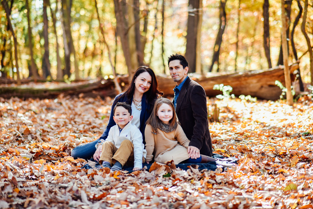 Family of 4 and Twins at Rock Creek Park DC Fall Photo Session