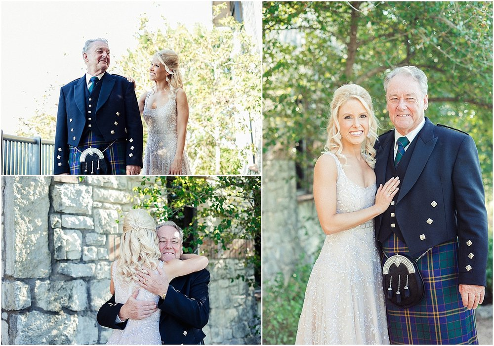 First Look with Dad and Bride in blush pink dress Blush Pink Bridal Details at Lady Bird Johnson Wildflower Center Austin Texas Wedding