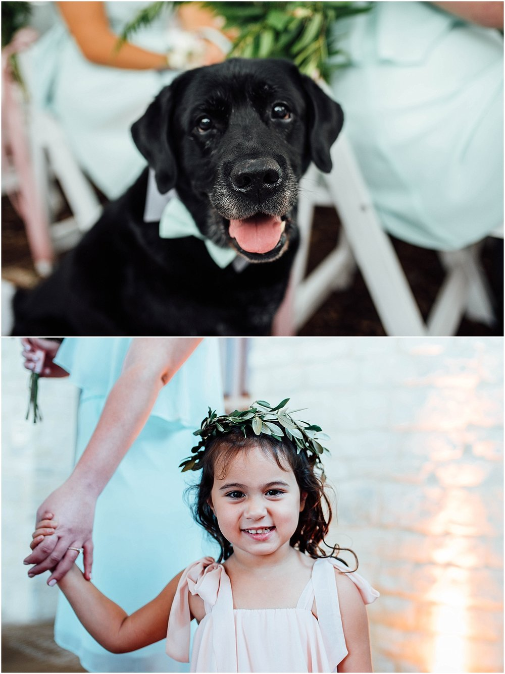 Flower girl and best dog Blush Pink Bridal Details at Lady Bird Johnson Wildflower Center Austin Texas Wedding