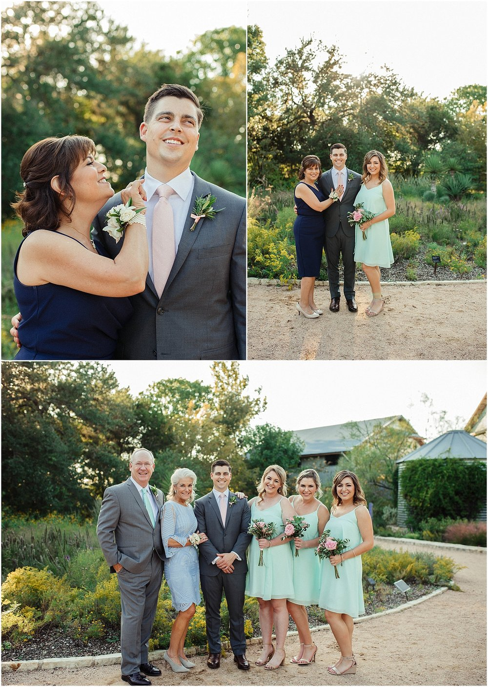 Groom with Family Blush Pink Bridal Details at Lady Bird Johnson Wildflower Center Austin Texas Wedding