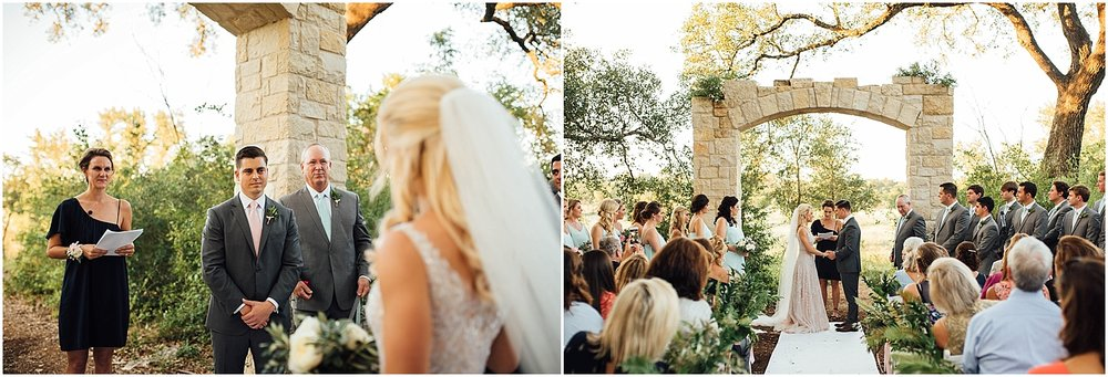 Walking down Aisle Blush Pink Bridal Details at Lady Bird Johnson Wildflower Center Austin Texas Wedding