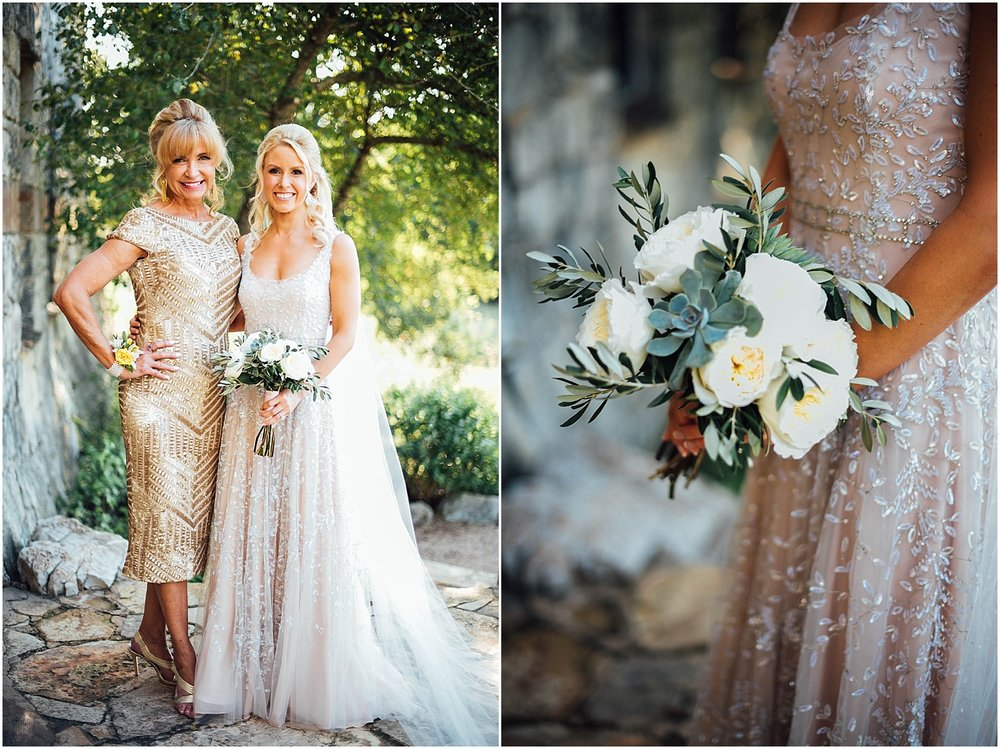 Bride with Mom Gold Dress Blush Pink Bridal Details at Lady Bird Johnson Wildflower Center Austin Texas Wedding