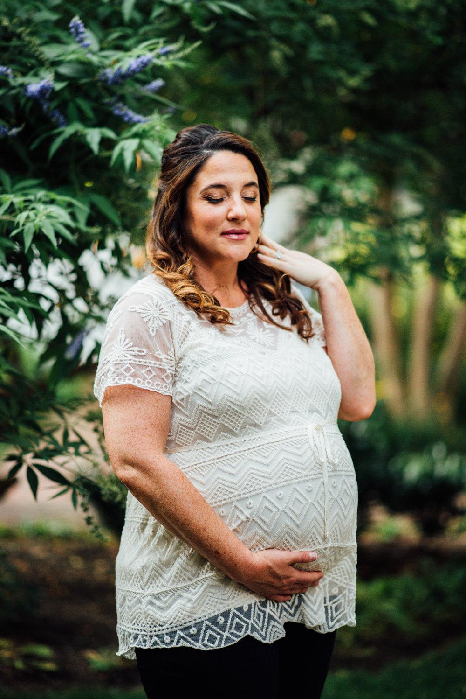 glowing boho chic pregnant woman