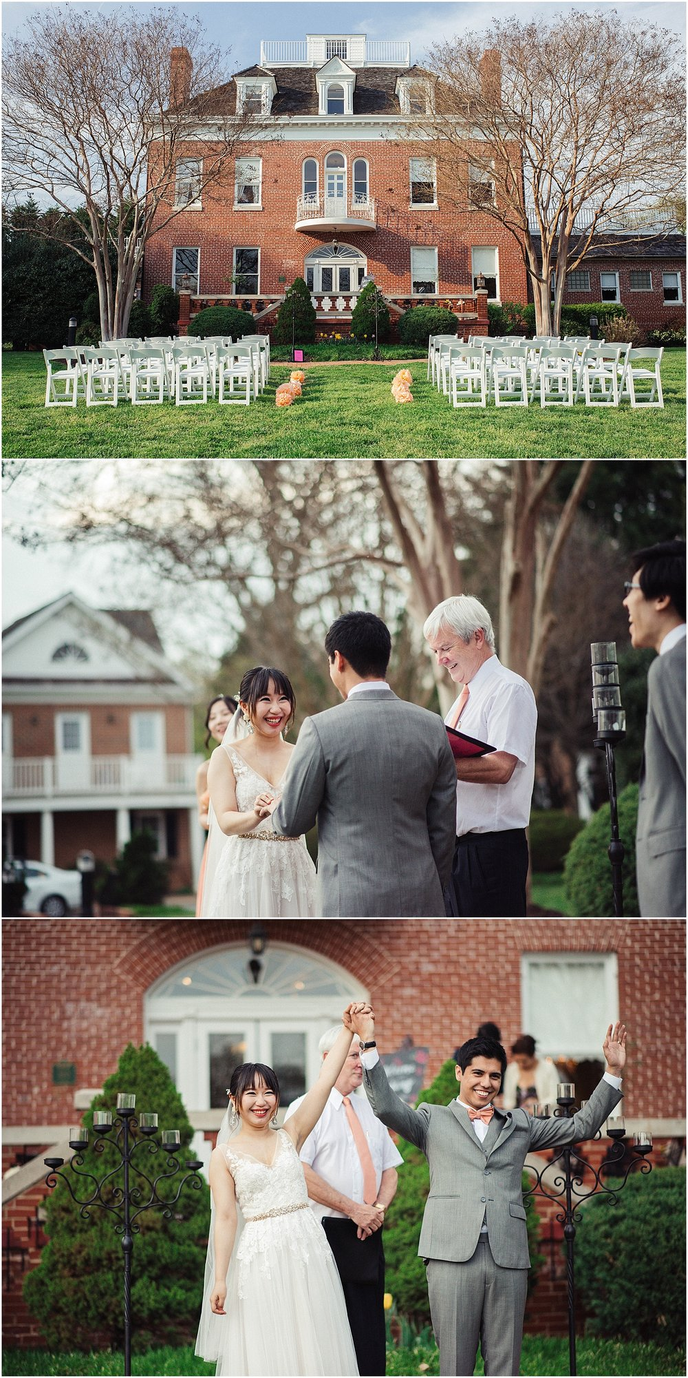 civil ceremony outdoors in the spring