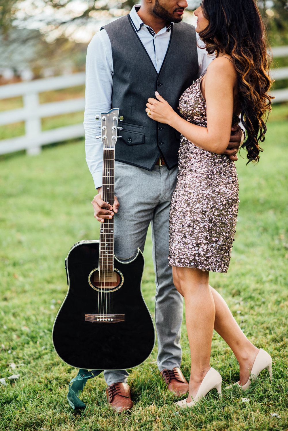 Black electric guitar engagement party Middleburg Virginia