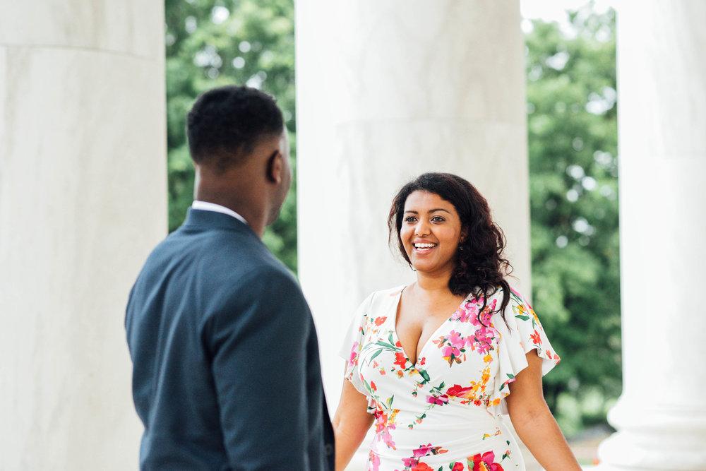 Wedding first look at Jefferson Memorial