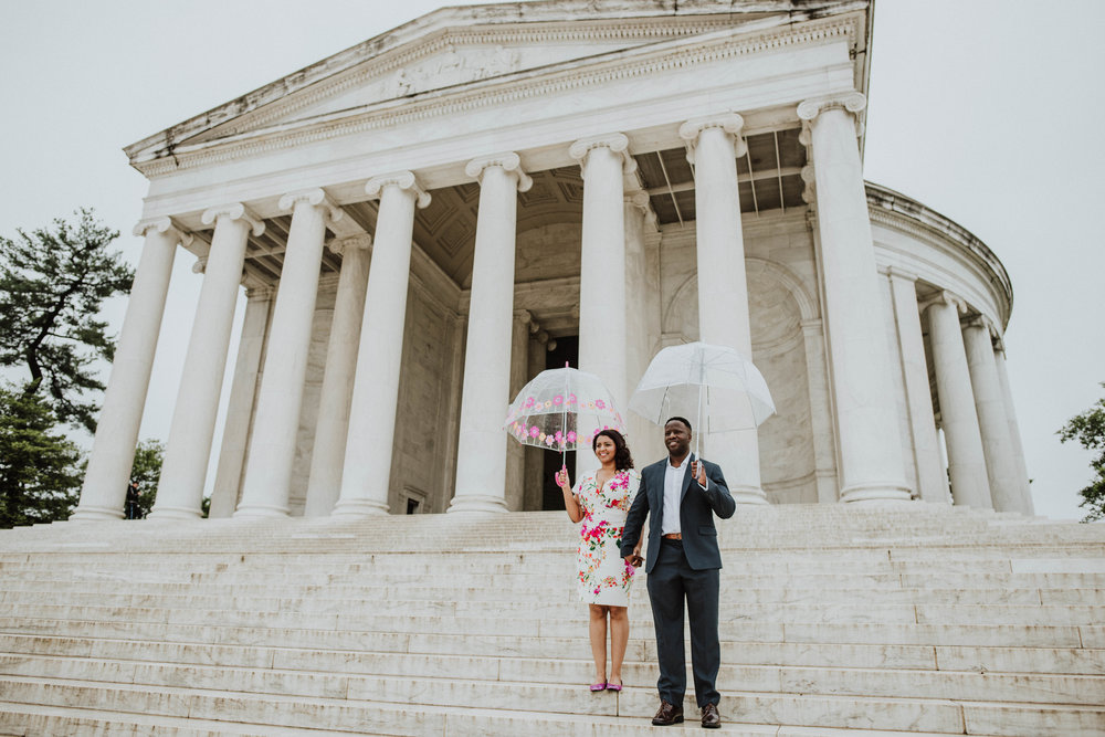 Rainy day at Jefferson Memorial with bubble umbrellas