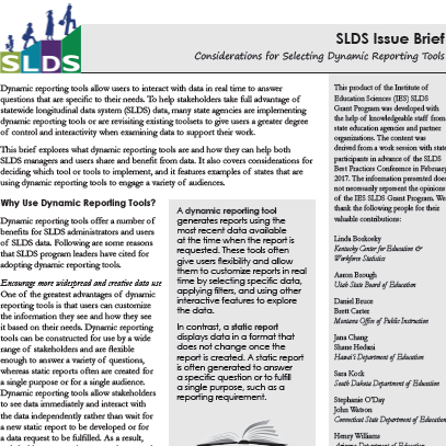 SLDS Issue Brief