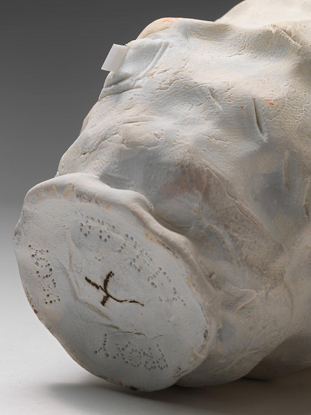 "DECOY_Cup_7 . Detail. Porcelain, porcelain blade, cardboard, granite. 10"" x 9"" x 7"". 2014."