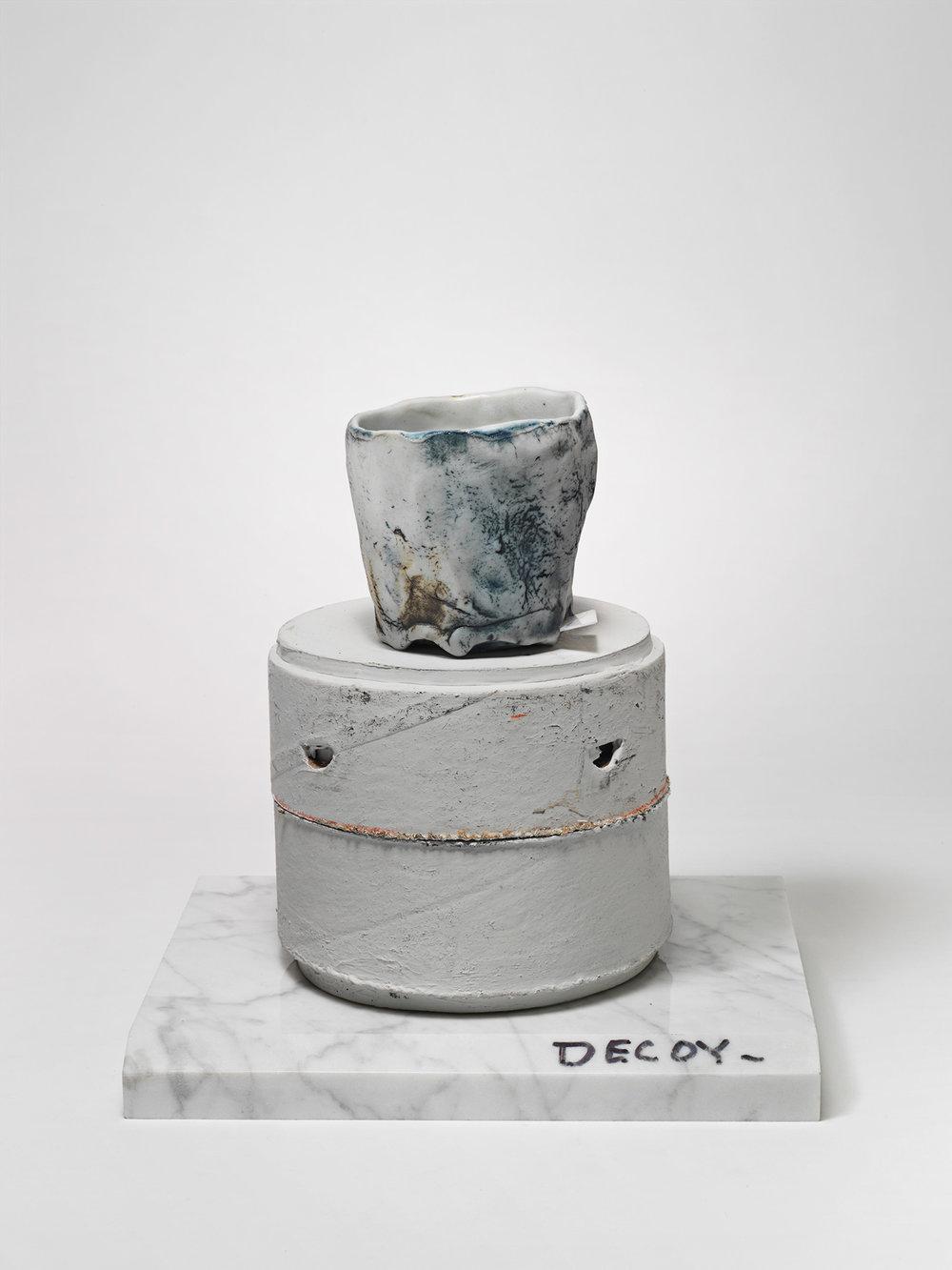"""DECOY_Cup_4 . Porcelain, porcelain blade, cardboard, granite. 7.5"""" x 7"""" x 5.5"""". 2014."""