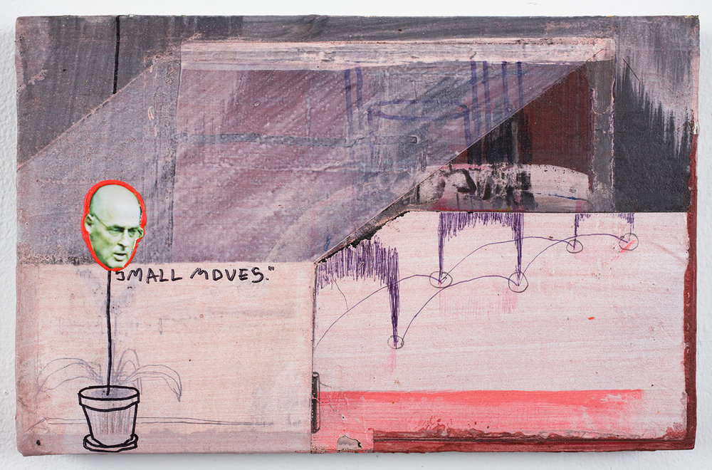 "Small Moves . Acrylic on panel. 7"" x 11"". 2010."