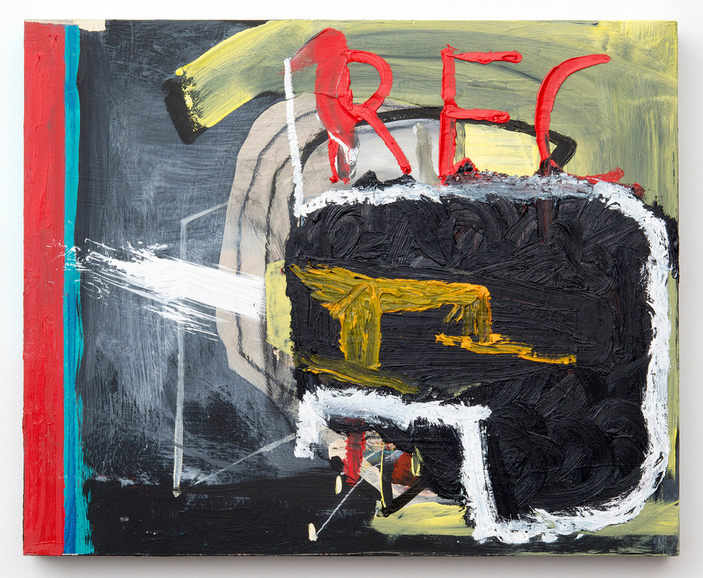 "REC_HEAD . Acrylic, oil on panel. 15.5"" x 19"" x 1.5"". 2014."