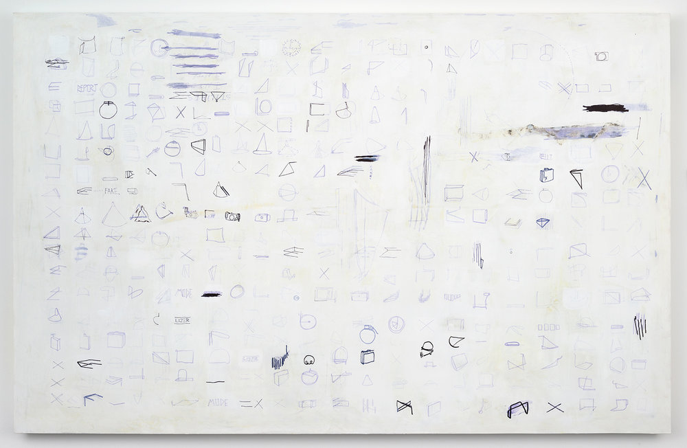 "REPORT_CODE_1 . Acrylic and ink on panel. 94"" x 60"" x 2.25"". 2015."