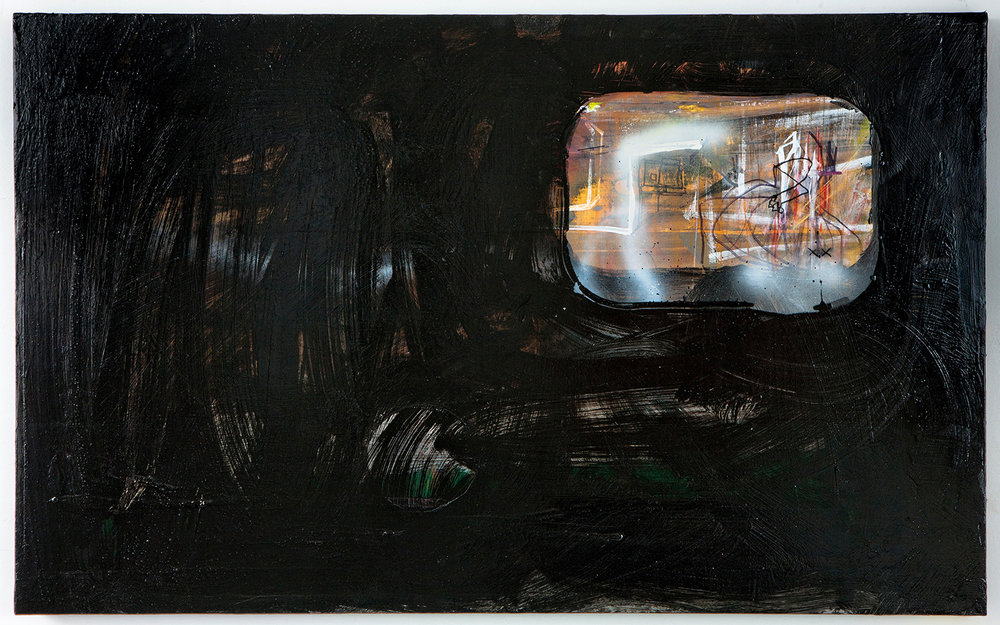 "HiDDEN ViEWER . Acrylic on panel. 28"" x 44"". 2012."