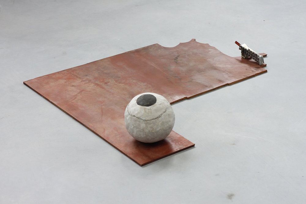 "STATION_YO . Stoneware, tin, rubber, spring steel. 6.75"" x 35.5"" x 27.5"". 2015."