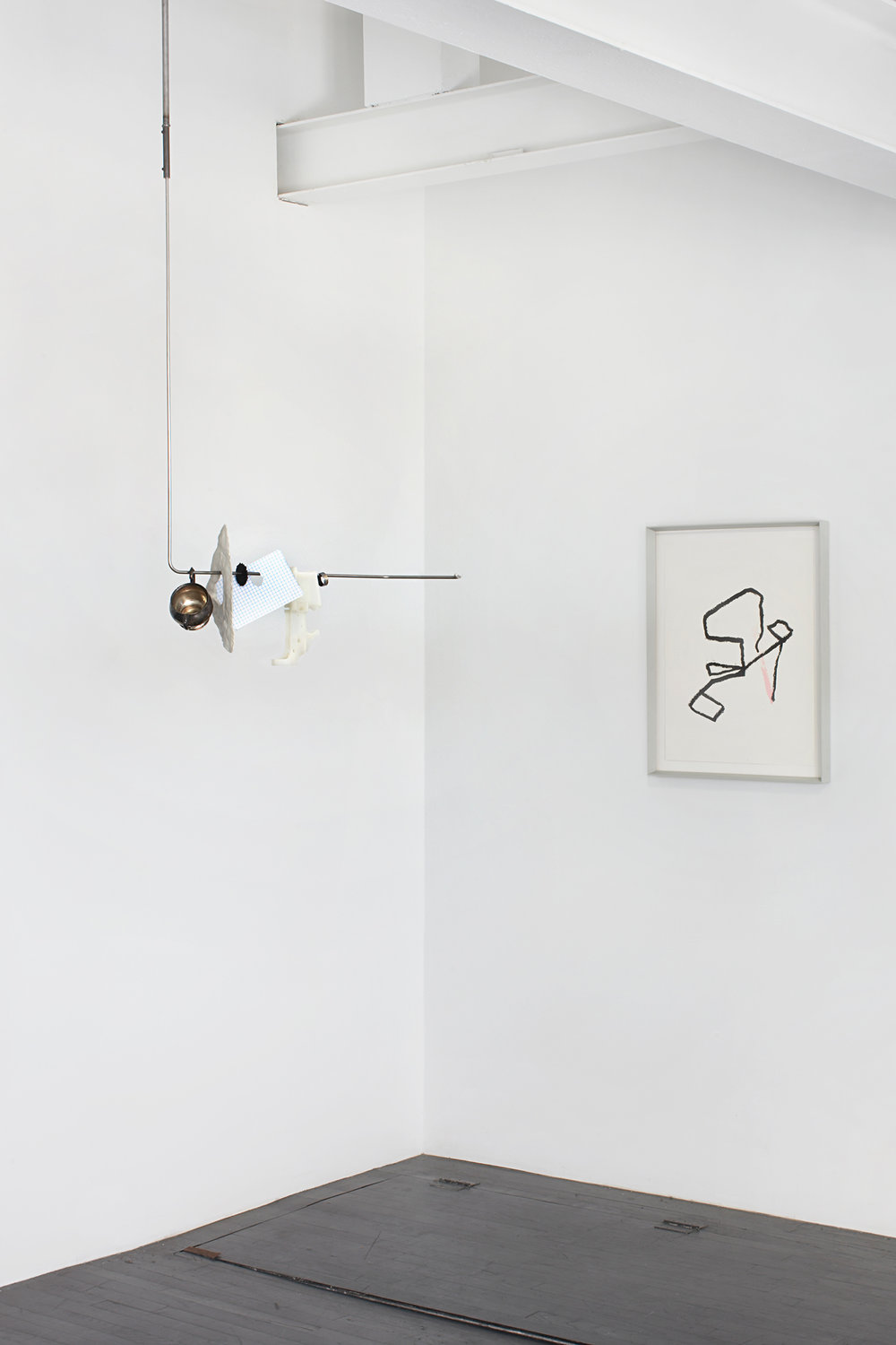 "ShiV_Rack (Left) . Installation view. Brass, plastic, paper, eyebrow hair, notecard, porcelain, sterling silver, stainless steel. 74"" x 26""x 6"". 2012."