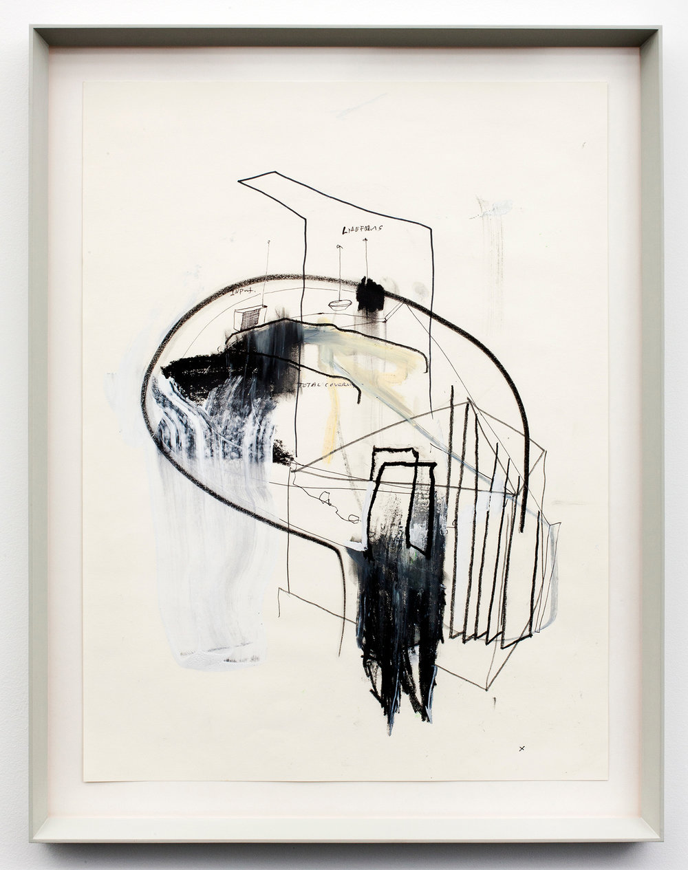 """Total Cover up .Graphite, oil stick, ink and correction fluid on paper. 27.5"""" x 21.25"""". 2012."""