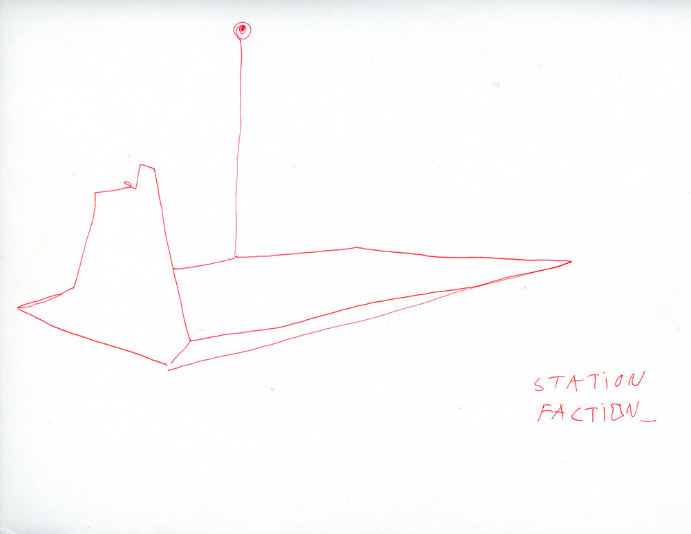 """Station Faction_Schematic . Ink on paper. 8.5"""" x 11"""". 2017."""