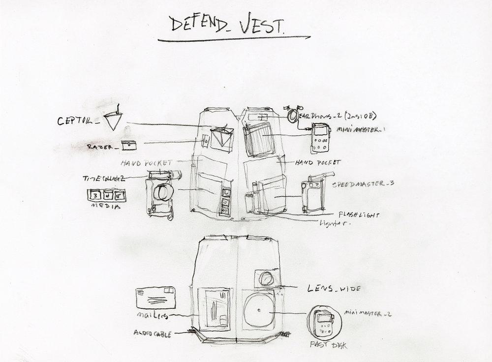"""Defend_VEST_Schematic . Graphite on paper. 8.5"""" x 11"""". 2014."""