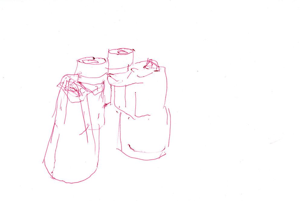 """Binocks . Ink on paper. 8.5"""" x 11"""". 2014."""
