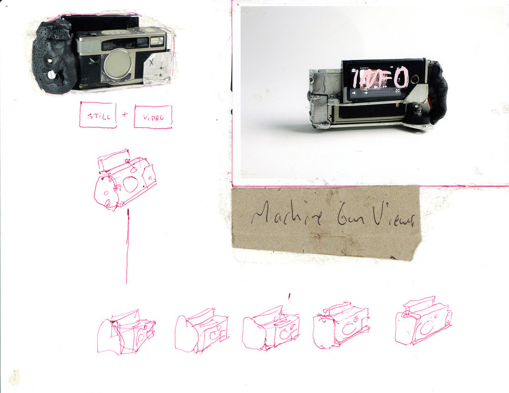 """Machine Gun Viewer_ Replication Drawing . Ink, color photograph, cardboard on paper. 8.5"""" x 11"""". 2014."""