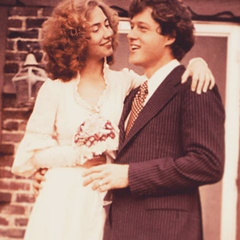 Lovin' that neckline, Hill. #👊🏼 #lovely #weddingdress #hillaryclinton #highneck