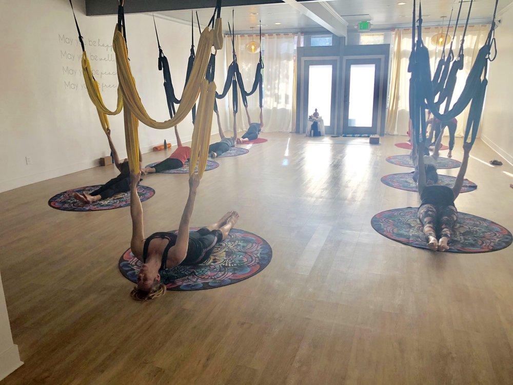 aerial yoga, metta yoga, aerial yoga play, aerial yoga teacher training