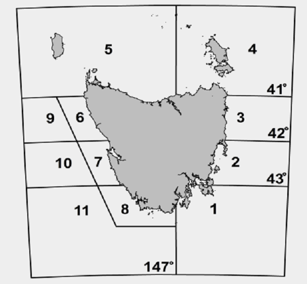 Figure 1.  Tasmanian rock Lobster management areas. Rock lobster populations in areas 2 and 3 are estimated to be at9% and 10% of virgin biomass respectively, while area 5 is at 9%.
