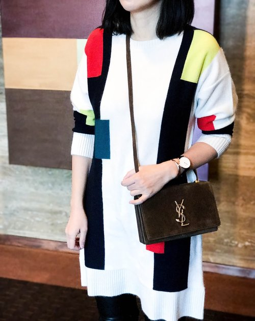 colorblock dress in cashmere