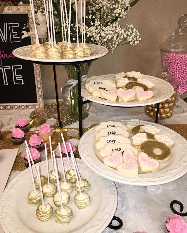 Custom Engagement Cookies And Cakepops! 💍  #dessertsbysabina #dessert #cake #cupcakes #cupcakecake #buttercream #bridal #bridalshower #weddingdress #weddingcake #ring #bayarea #baker #baking #sweets #gold #blingcake