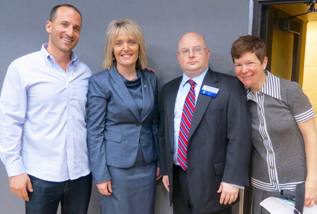 From left to right: Drew Schwartz, director of learning and career development at EducationPlus, Margie Vandeven, Ph.D., commissioner of the Missouri Department of Elementary and Secondary Education,  David Borgmeyer, Ph.D., director of the Center for International Studies at Saint Louis University, and Flannery Burke, Ph.D., associate professor, Department of History at SLU.   Submitted photo