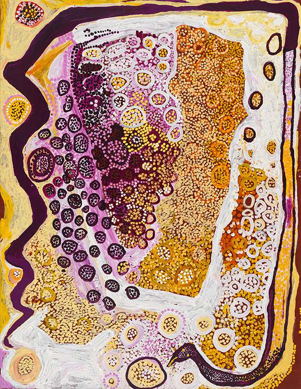 Kunmanara (Tiger) Palpatja   Wanampi Tjukurpa  2009, synthetic polymer paint on linen, 198.0 x 152.5 cm, National Gallery of Australia, Canberra, Donated through the Australian Government's Cultural Gifts Program by Susan and Michael Armitage, 2013.  ©  the artists and tjala Arts