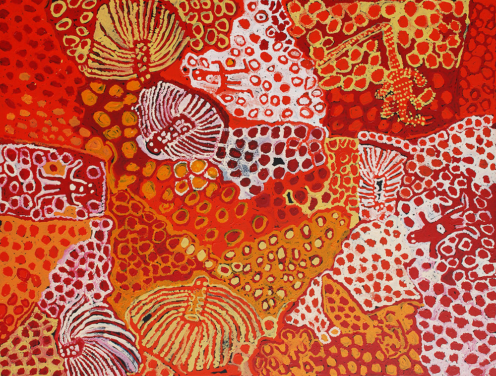 Harry Tjutjuna Wati Ngintaka, Wati Nyiru, Wanka and Kungka Tjuta 2009, acrylic on linen, 202 x 264 cm, Araluen Art Collection, acquired from Desert Mob 2009. Courtesy the artist and Ninuku Arts