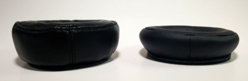 Our Beautiful Audio earpad (left), next to the original Panasonic earpad (right).